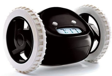 A Robotic Alarm Clock Which Jumps Off from Side Table and Run Away