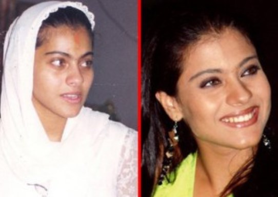Indian Actress Kajol With and Without Makeup.
