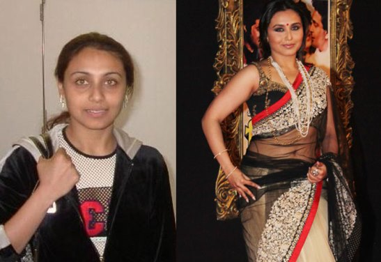 Rani Mukherjee Indian Actresses With and Without Makeup