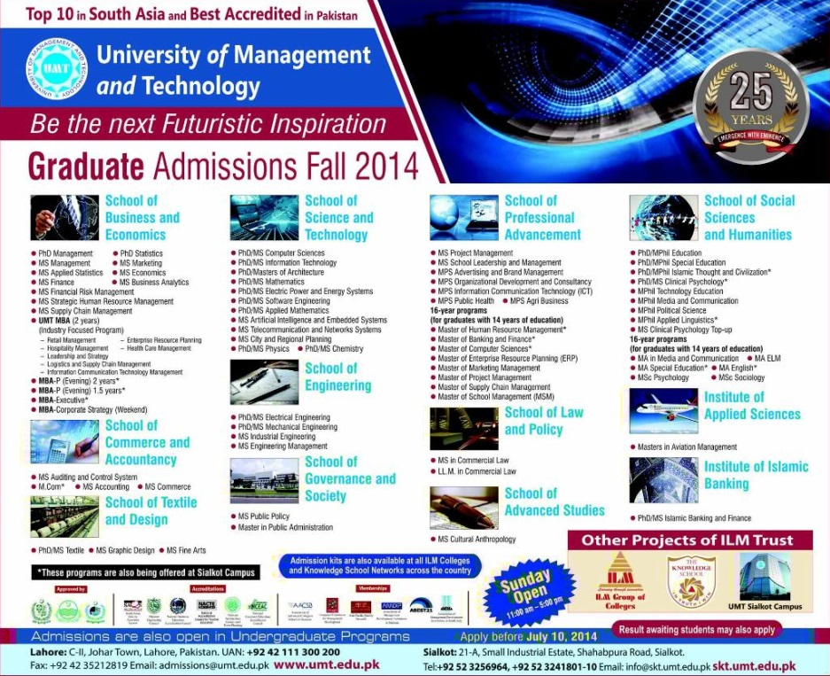 UMT Lahore Graduate Admissions 2014 for Fall Session