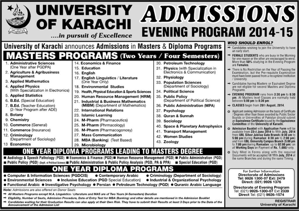 University of Karachi (UOK) Admissions Evening Programs 2014-15