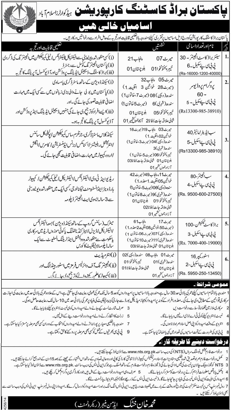 Jobs in Pakistan Broadcasting Corporation 2015